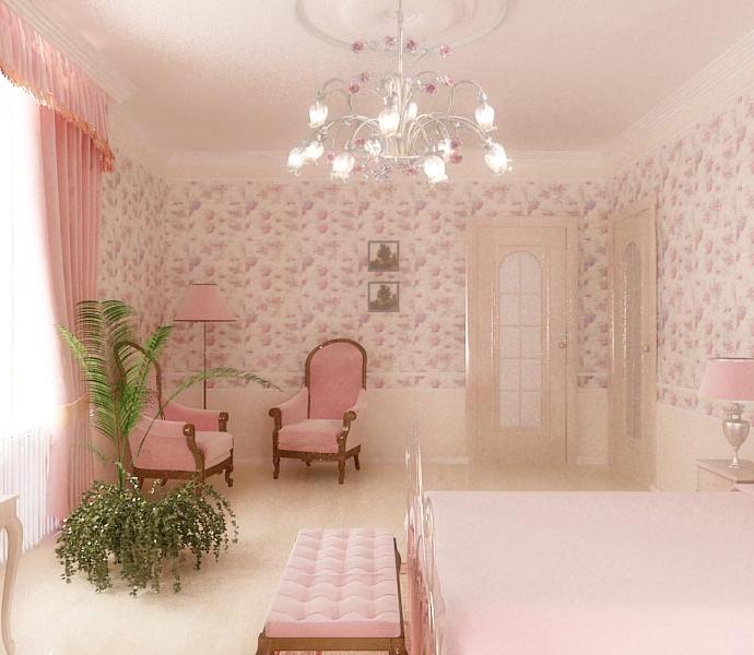 Дом в с. Лески (Одесса). Спальня в розовых тонах