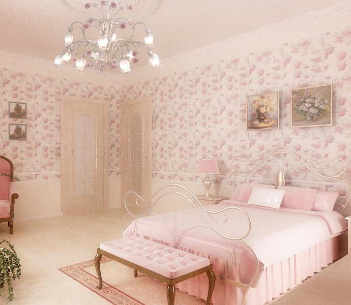 Дом в с. Лески (Одесса) . Спальня в розовых тонах