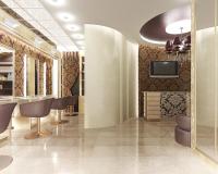 Общий вид зала и ресепшн салона красоты