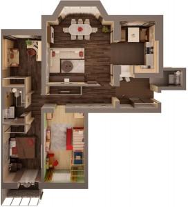 Визуализация 4-х комнатной квартиры после перепланировки. Для удобства вход в кухню был организован с гостиной комнаты.