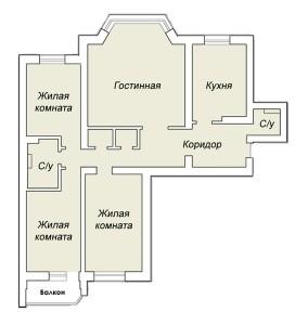План 4-х комнатной квартиры до перепланировки